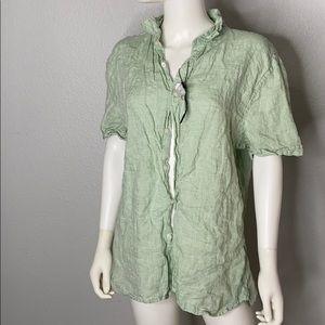 Perry Ellis Button Down Green Linen Shirt